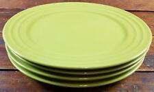 "4 Pc Set Rachael Ray Double Ridge Green Bands Meyer Stoneware 11"" Dinner Plates"