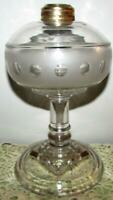 Antique Kerosene Oil Stand Lamp Clear & Frosted Glass Depressed Jewel Band 1880