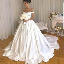 UK Plus Size Satin White Off Shoulder A Line Sweetheart Wedding Dress Size 26