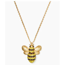 Kate Spade Gold Tone Crystal Pave Picnic Perfect Bee Pendant Necklace