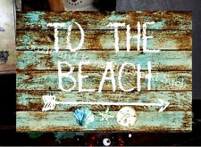 Vintage Wooden Sign To The BEACH Seashell Starfish Sandollar