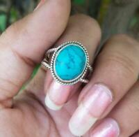 Turquoise Stone Ring Solid 925 Sterling Silver Ring Band Ring Handmade Ring Sr23