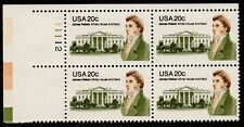 Scott 1936 Plt Blk of four 20 cent James Hoban, White House Architect MNH