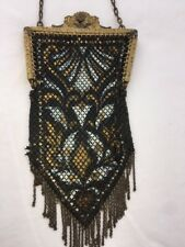 Mandalian Mesh Purse Flapper Enamel Antique Gold Frame Black Gold