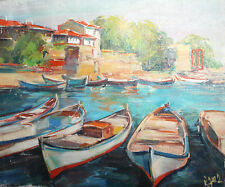 Impressionist seascape landscape cityscape oil painting Signed
