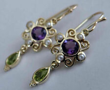 4.50Ct Round Cut Amethyst,Peridot & Pearl Earrings 14k Yellow Gold Over