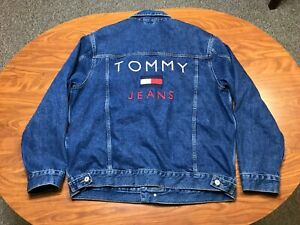 MENS NEW WITH TAGS TOMMY HILFIGER BUTTON UP FLAG DENIM JEAN JACKET SIZE XL