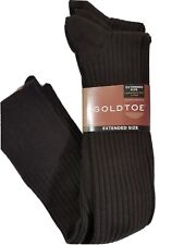 Gold Toe Mens Socks Canterbury Over the Calf Brown Ribbed 3 Pair XL Extended Sz