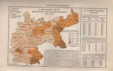 Landkarte map 1905: Deutsches Reich. Kriminalstatistik Statistik Kriminalität