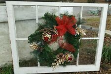 VINTAGE SASH ANTIQUE WOOD WINDOW UNIQUE FRAME PINTEREST CHRISTMAS WREATH 36X28
