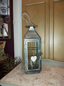 GREY WHITE WASHED METAL LANTERN WITH THICK ROPE HANDLE 36cm TALL
