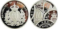 SAN MARIN  10  EURO  ARGENT 2011  ANNIVERSARIO  EN CAPSULE D'ORIGINE , EPREUVE