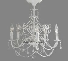 NEW Pottery Barn KIDS Mia Flushmount Crystal Beaded Flushmount Chandelier~White