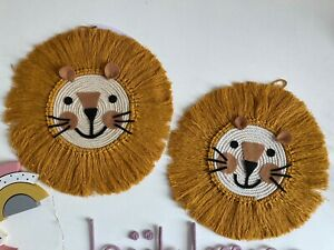 Lion Head Animal Nursery Wall Decor Macrame And Cotton Rope Decor