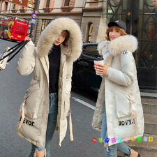 Womens Quilted Coat Down Cotton Fur Hooded Long Winter Warm Puffer Jackets Parka