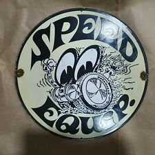 SPEED EQUIP VINTAGE PORCELAIN SIGN 12 INCHES ROUND