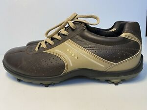 Ecco Hydromax Softspikes Brown Leather Lace-Up Golf Shoes Euro 42 Men's US 8-8.5