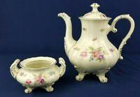 Vtg K&A Selb Bavaria Germany Gold Trim Floral Footed Coffee Pot & Sugar Bowl