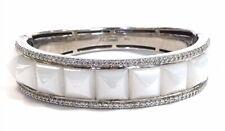 Beautiful Ti Sento Sterling Silver Bangle Bracelet w/ Mother Of Pearl & CZ