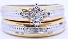 10K Solid 2-Tone Yellow & White Gold Marquise Illusion Diamond Wedding Ring Set