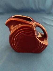 Fiesta Mini Disc Pitcher Fiestaware Small Creamer Syrup Cinnabar RARE Retired
