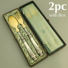 19C Antique French Sterling Silver Salad Serving Set 2pc w/Box Fork Spoon Server