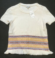MADEWELL Fringe Jacquard Short Sleeve Sweater Top Knit Pearl Ivory Size XS