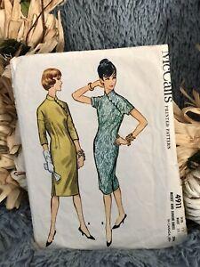 McCalls Pattern 4911 Easy Cheongsam Oriental Dress size 12 Cut Complete 1950s