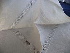 #320F vtg  LOT 12 Napkins  fabric CUT & PULLED threads damask 15 1/2 x 15''