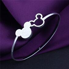MICKEY 925 Disney Sterling Openwork Silver Bangle Bracelet chain 20cm UK