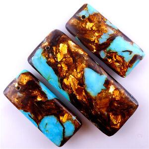 3pcs/set Turquoise & Gold Copper Bornite stone oblong Pendant Bead 48*18*6mm diy
