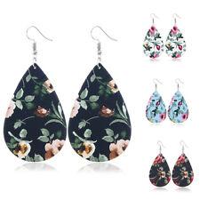 1Pair Women Leather Flower Earrings Printed PendantEar Hook Dangle Jewelry Gift