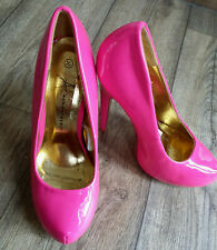 Atmosphere Sexy Hot Pink 14cm Stiletto Round Toe Patent Shoes Size 4