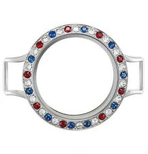 Origami Owl Large Silver Wrap Twist Locket Base+Red White Blue Face w/Swarovski