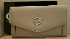 NEW W TAGS BOX WOMEN'S TAUPE RHINESTONE THORNE SLG GUESS WALLET VX151951