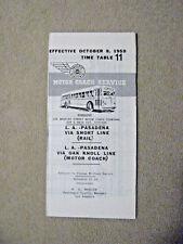 Pacific Electric Pocket Time Table #11 - Pasadena - Oak Knoll Line - 10/8/50