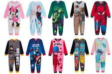 Kids Character Fleece All In One Boys Girls Disney Marvel Zip Up Sleepsuits Pjs