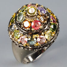 Handmade Natural Tourmaline 925 Sterling Silver Ring Size 7/R120901