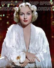 CAROLE LOMBARD DEEP RED BACKGROUND 8X10 BEAUTIFUL COLOR PHOTO BY CHIP SPRINGER
