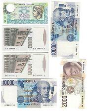 500+1000+2000+10000 LIRE 6 banconote diverse per tipo o decreto LOTTO 1024