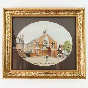 Vintage Gold Framed Print, Market Hall Building Swadlincote England Art