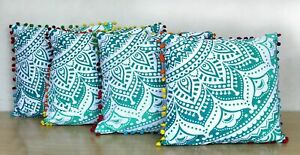 "Green Ombre Boho Hippie Bohemian Mandala Sofa Bed PomPom Cushion Covers 16""/41cm"