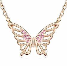18K Gold GP SWAROVSKI Element Crystal Pink Large wing Butterfly Pendant Necklace