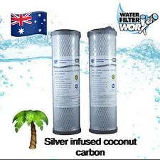 """1 MICRON SILVER INFUSED CARBON WATER FILTERS TWIN PACK 10"""" x 2.5"""" 