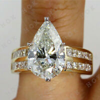 5CT Pear Cut VVS1 Diamond Solitaire Engagement Wedding Ring 14k Yellow Gold Over