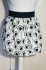 Gothic black and white velvet devore Victorian cameo skirt from Topshop size 8