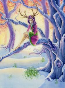 Fantasy SOLSTICE Wicca PAGAN winter TREE Spirit FAIRY Card GODDESS