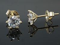 585 Gold  Ohrstecker  mit 6 Krappen 1 Paar 6 mm Grösse mit  Zirkonia Steinen