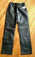 Massini Black Leather Pants Sz 8 Motorcycle Horse Riding Flat front NWT