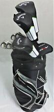 Mens Callaway Complete Golf Set Driver, Wood, Hybrid, Irons Putter Bag Graphite